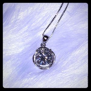 CZ pendant on silver chain